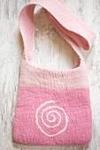 Hand-made pink felt bag with spiral motif
