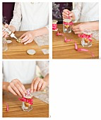 Instructions for making an Advent calender from decorated screw-top jars