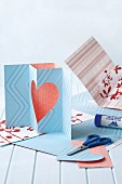 Hand-made pop-up greetings cards with love-heart motif and in various patterns