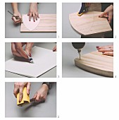 Make a decorative trophy from a wooden board and branches