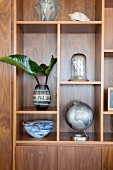 Various decorative objects on precious wood shelves