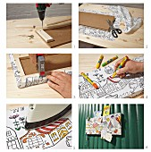 Instructions for making pin board from hardboard covered in black and white fabric coloured with fabric markers