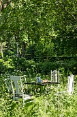 Vintage garde table and chairs in mature garden