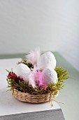 Hand-made Easter decorations: white eggs made from plaster bandages in Easter nest