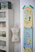 Hand-made memo calendar on wall