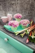 Carnations in cupcake cases on tray next to rhubarb stalks