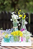 Various wild flowers in glass vessels on garden table
