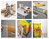 Instructions for revamping a chest of drawers with spray paint