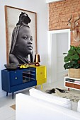Picture of African girl on colourful retro sideboard