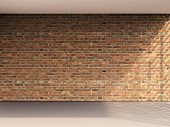 3D rendering of empty room with brick wall