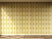 Leerer Raum mit Retro-Tapete und Holzboden, 3D-Rendering