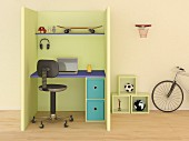 Modern desk in cubicle in child's bedroom; 3D rendering