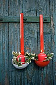 Christmas arrangement made of ladles and candles
