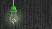 Light bulb with green tree-shaped filament in front of concrete wall; 3D rendering