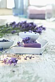 Lavender and lavender soap in bowl