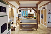 Rustic country-style kitchen with island counter