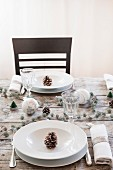 Table set for Christmas dinner