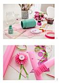 Instructions for making a jam-jar vase and paper rosette ribbon