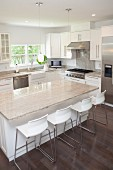 Breakfast bar, stools and counters in modern kitchen