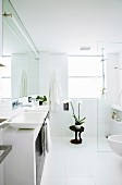 Floor-level shower in modern bathroom