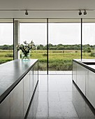 Purist designer kitchen with view over wildlife reserve