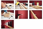 Arbeitsanleitung zum Herstellen und Anbringen schmaler Holzleisten als Regalablage an Wand