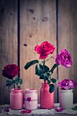 Vases of roses of Valentine's day