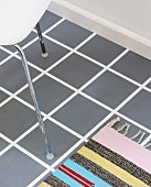 DIY floor design - white floor painted with accurate grey squares