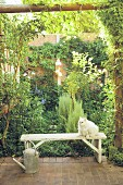 White cat sitting on garden bench and zinc watering can on terrace in front of climber-covered garden wall and luxuriant herbaceous borders
