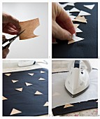 Instructions for ironing cork triangles onto cushion cover