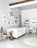 Mixture of antique and modern styles in monochrome interior