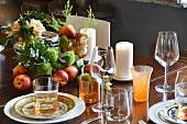 Table set in autumnal colours