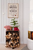 Firewood in wooden crate and small Christmas tree next to white tiled stove