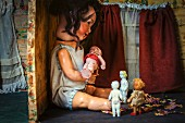 Antique dolls in dolls' house