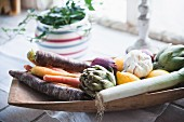 Winter vegetables in wooden bowl