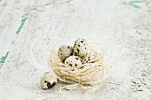 Easter arrangement of quail eggs in straw nest