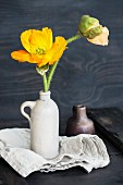 Yellow poppy and poppy buds in stoneware jug on linen
