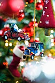 Small car-shaped Christmas tree baubles