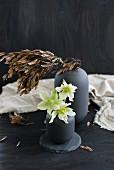 weiße Christrosen in grauer Vase