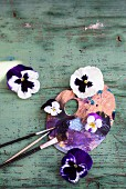 Violas on painter's pallet and rustic wooden surface