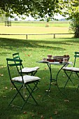 Set table in shady seating area on lawn