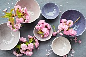 Cherry blossoms in stoneware bowls amongst scattered petals