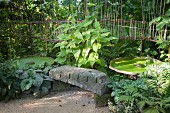 Stone bench and pool covered in duckweed below wooden artwork