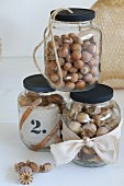 Nuts and poppy seedheads in jars with black screw lids