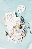 Christmas arrangement with cut-paper art