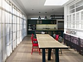 Long wooden dining table in industrial-style kitchen