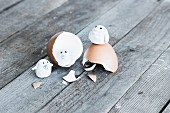 Tiny polymer clay birds on egg shell