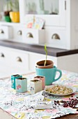 Home-sown sprouting seeds on kitchen table