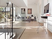 Workspace and living space with modern glass balustrade