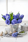 Blue hyacinths in silver jelly mould surrounded by egg shells